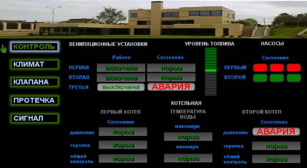 Контроль котельного оборудования, вентиляционных установок и основных насосов.