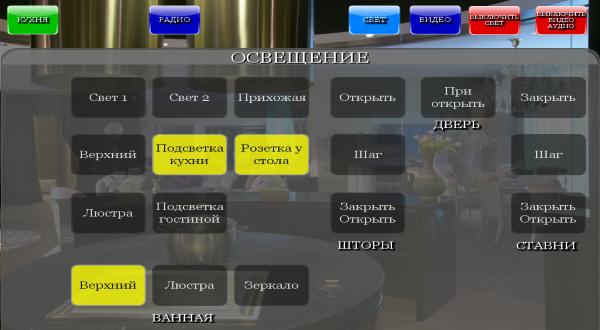 Пример экрана для управления освещением с iPAD